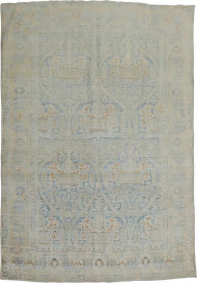 Blue White Antique Fine Kerman Rug rug no 9748