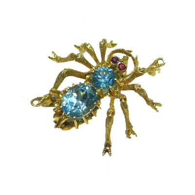 Blue Zircon and Ruby Eyes Spider Brooch