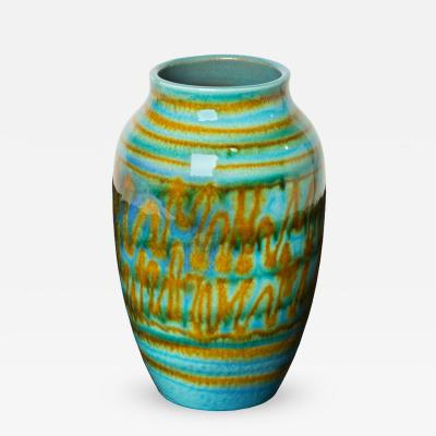 Blue and Amber Abstract Patterned West German Pottery Vase