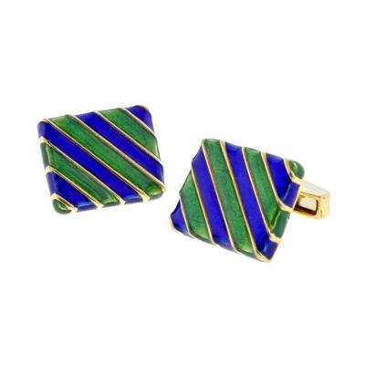 Blue and Green Striped 18 Karat Gold Cufflinks