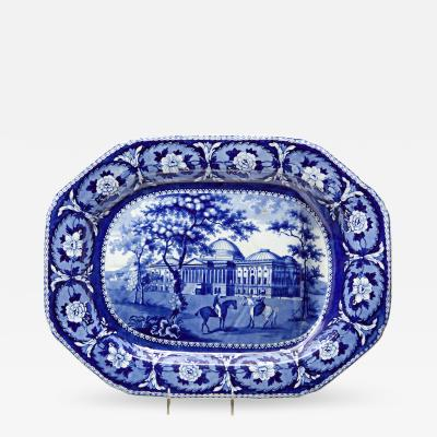 Blue and White Beauties of America Meat Platter with the United States Capitol