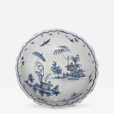 Blue and White Bowl with Chinoiserie Landscape