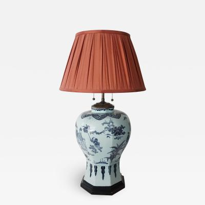Blue and White Delft Chinoiserie Baluster Vase Table Lamp