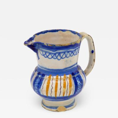 Blue and Yellow Striped Pitcher