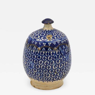 Blue and white Lidded Jar
