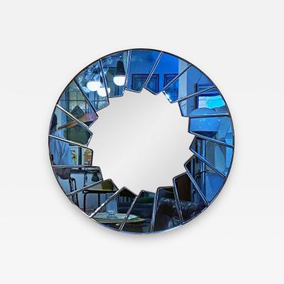 Blue glass round mirror 1960s