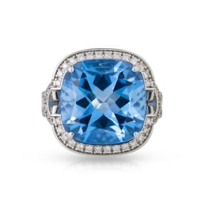 Blue topaz cocktail ring