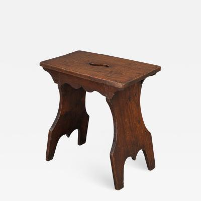 Boarded Elm 18th Century Stool of Trestle Design