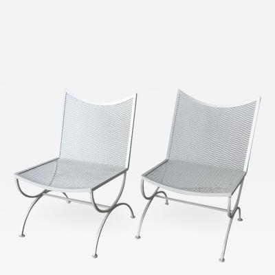 Bob Anderson Set of 2 Mid Century Bob Anderson Painted Wrought Iron Patio Side Chairs