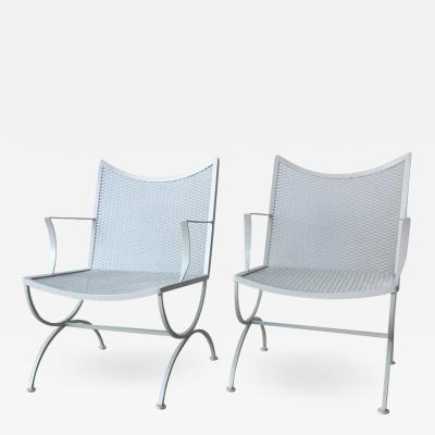 Bob Anderson Set of Two Midcentury Bob Anderson Painted Wrought Iron Patio Armchairs