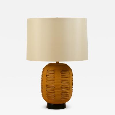 Bob Kinzie Large Textured Stoneware Lamp with Custom Silk Drum Shade by Bob Kinzie