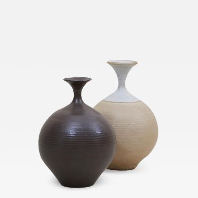 Bob Kinzie Set of Two Huge Bob Kinzie Stoneware Studio Pottery Vases US 1970s