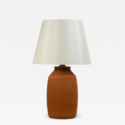 Bob Kinzie Stoneware Lamp with Custom Silk Shade by Bob Kinzie for Affiliated Craftsmen