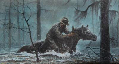 Bob Kuhn Cowboy on Horseback in the Rain