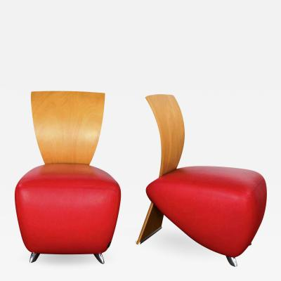 Bobo postmodern accent chairs by dietmar sharping red leather maple a pair