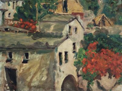 Bogliasco Italia impressionist oil on panel