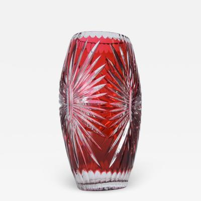 Bohemian Red Ruby Cut Clear Crystal Glass Vase Hungary Czech Art Style of AJKA