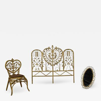Bohemian bedroom trio gold wicker headboard heart chair mirror
