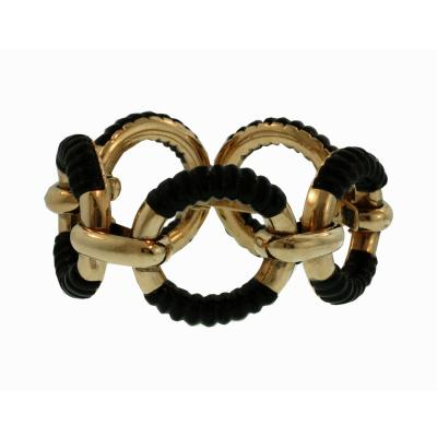 Bold French Fluted Onyx Bracelet