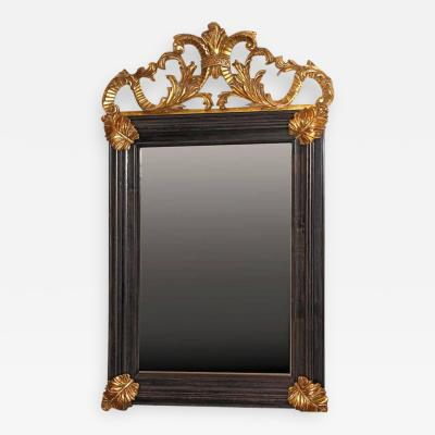 Bolection Framed Mirror with Hand Carved Gilt Details Aged Glass