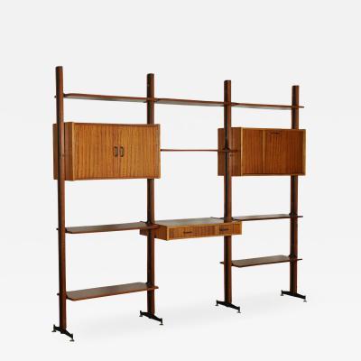 Bookcase Mahogany Veneer Wood Metal Italy 1960s