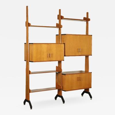 Bookcase Veneered Wood Solid Teak Enamelled Metal Italy 1960s