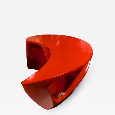 Boomerang shaped red abstract coffee table