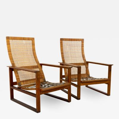 Borge Mogensen 2254 Mid Century Oak and Cane Highbacked Lounge Chairs Pair