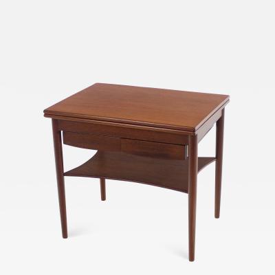 Borge Mogensen Unique Scandinavian Modern Expandable Teak Side Table by Borge Mogensen