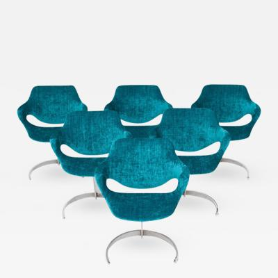 Boris Tabacoff Boris Tabacoff Scimitar Dining Chairs in Blue Petrol Velvet