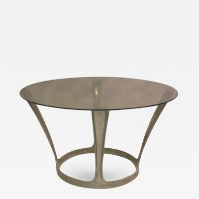 Boris Tabacoff French Midcentury Round Aluminum and Glass Center Dining Table by Boris Tabacoff