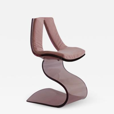 Boris Tabacoff Pink Lucite Dumas Chair by Boris Tabacoff