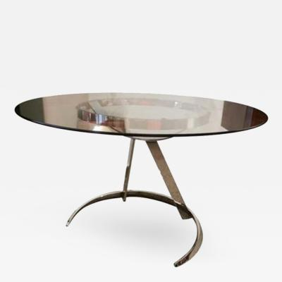 Boris Tabakoff A Round Breakfast or Center Table in Glass and Chromed Steel by Boris Tabakoff