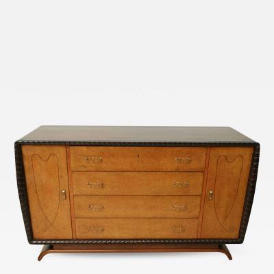 Borsani Walnut and Burl Line Inlaid Dresser Italy 1950s