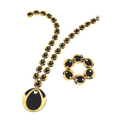 Boucheron Paris Onyx Diamond and Yellow Gold Set Necklace and Bracelet
