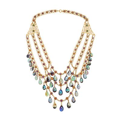 Boulder Opal and Multi colored Garnet Necklace