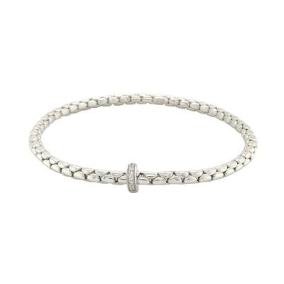 Bracelet extensible intemporel en or blanc 18 K avec diamants