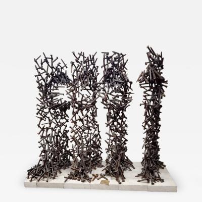 Bradley Foster Massive Garden Modernist Nebula Sculptures By Bradley Foster Railroad Tie welded