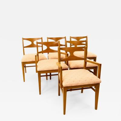 Brasilia Style Mid Century Walnut Bowtie Dining Chairs Set of 6