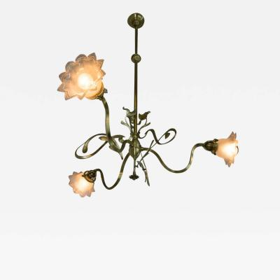 Brass Art Nouveau Chandelier 1900s