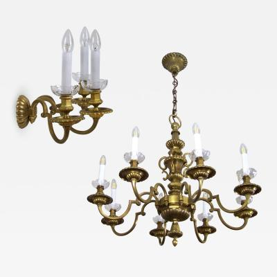 Brass Chandelier and Wall Light 84 x 120cm circa 1900