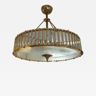 Brass Chandelier with Crystal Inserts