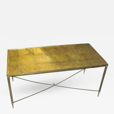 Brass Coffee Table with Gold Leafed Glass Top