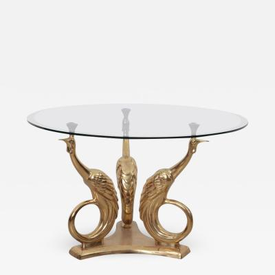 Brass Coffee or Side Table with Peacocks