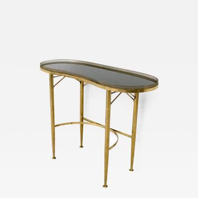 Brass Console Table with Black Glass Top Italy 1950s