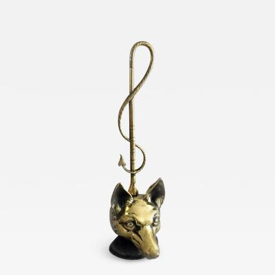 Brass Doorstop in Form of a Fox