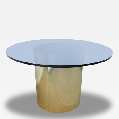 Brass Drum Dining Table with Amber Glass Top