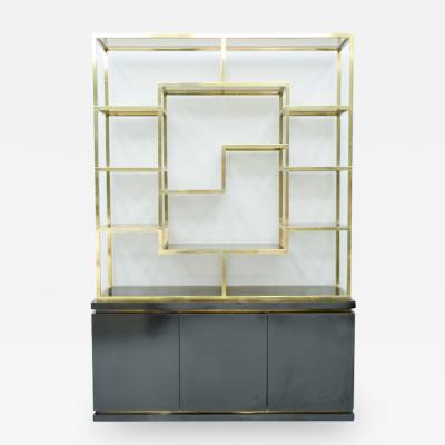 Brass Etagere Shelf or Room Divider with Black Sideboard by Kim Moltzer 1970s