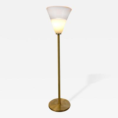Brass Floor Lamp with Large Murano Shade