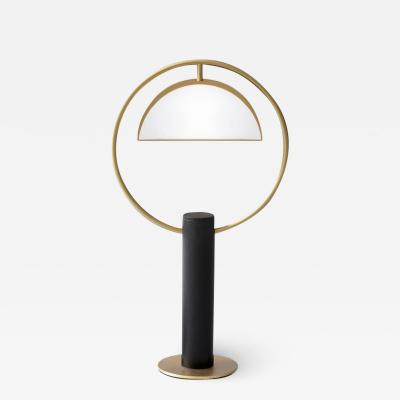 Brass Half in Circle Table Lamp Square in Circle